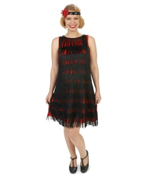Black Fringe Womens Maternity Flapper Costume