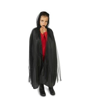 Black Hooded Girls Mesh Cloak