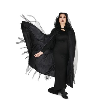 Red Hooded Womens Mesh Cloak