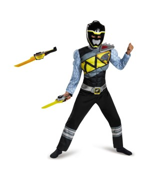 Black Power Ranger Dino Charge Boys Costume and Toy Sword Set