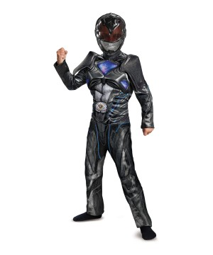 Power Rangers Movie Black Ranger Muscle Boys Costume