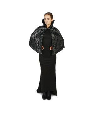 Black Spiderweb Print Capelet