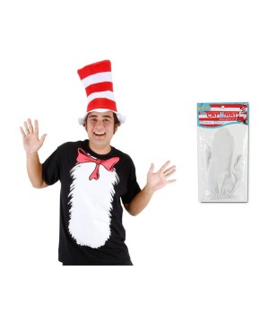 Cat in the Hat Men Shirt Hat and Gloves Costume Set