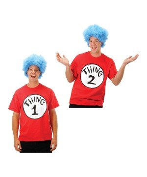 Cat in the Hat Thing 1 and Thing 2 Shirt and Wig Sets