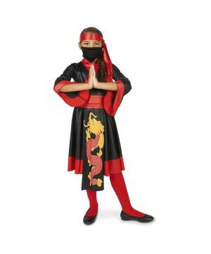 Fire Dragon Ninja Girls Costume