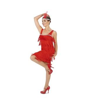 Flaming Red Womens Flapper Dress