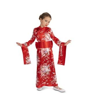 Girls Red Kimono Dress