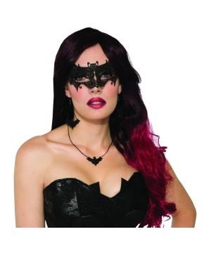 Black Lace Bat Mask