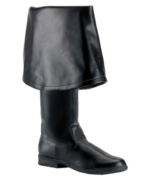 Mens Tall Black Fold Over Pirate Boots