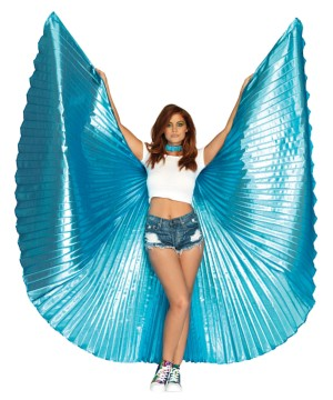Womens Metallic Blue Pleated Wings