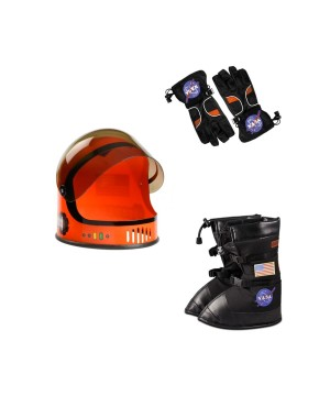 Nasa Orange Astronaut Helmet Gloves and Boots Boys Costume Accessory Set