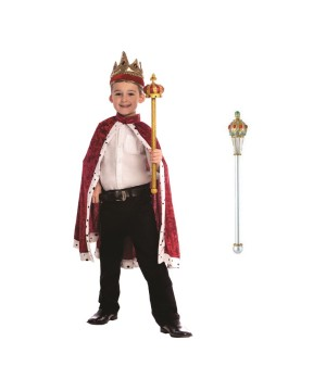 Red King Robe and Crown Boys Costume and Scepter Set
