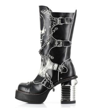 Womens Black Knee High Steampunk Biker Boots
