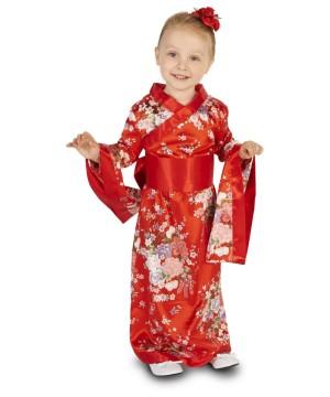 Toddler Girls Red Flower Print Kimono