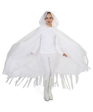 White Hooded Womens Mesh Cloak