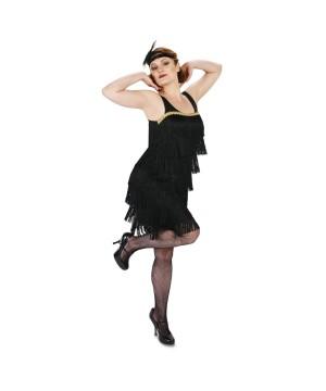 Womens Black Jazzy Flapper Dress