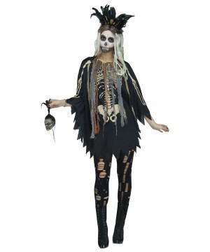 Womens Skeleton Poncho Costume
