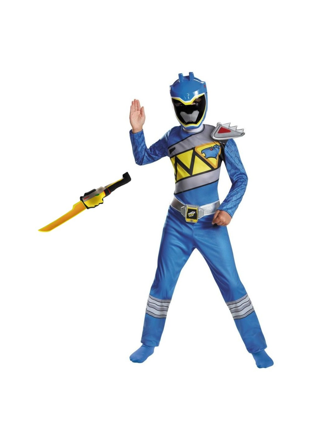 Blue Power Ranger Dino Charge Boys Costume And Toy Sword