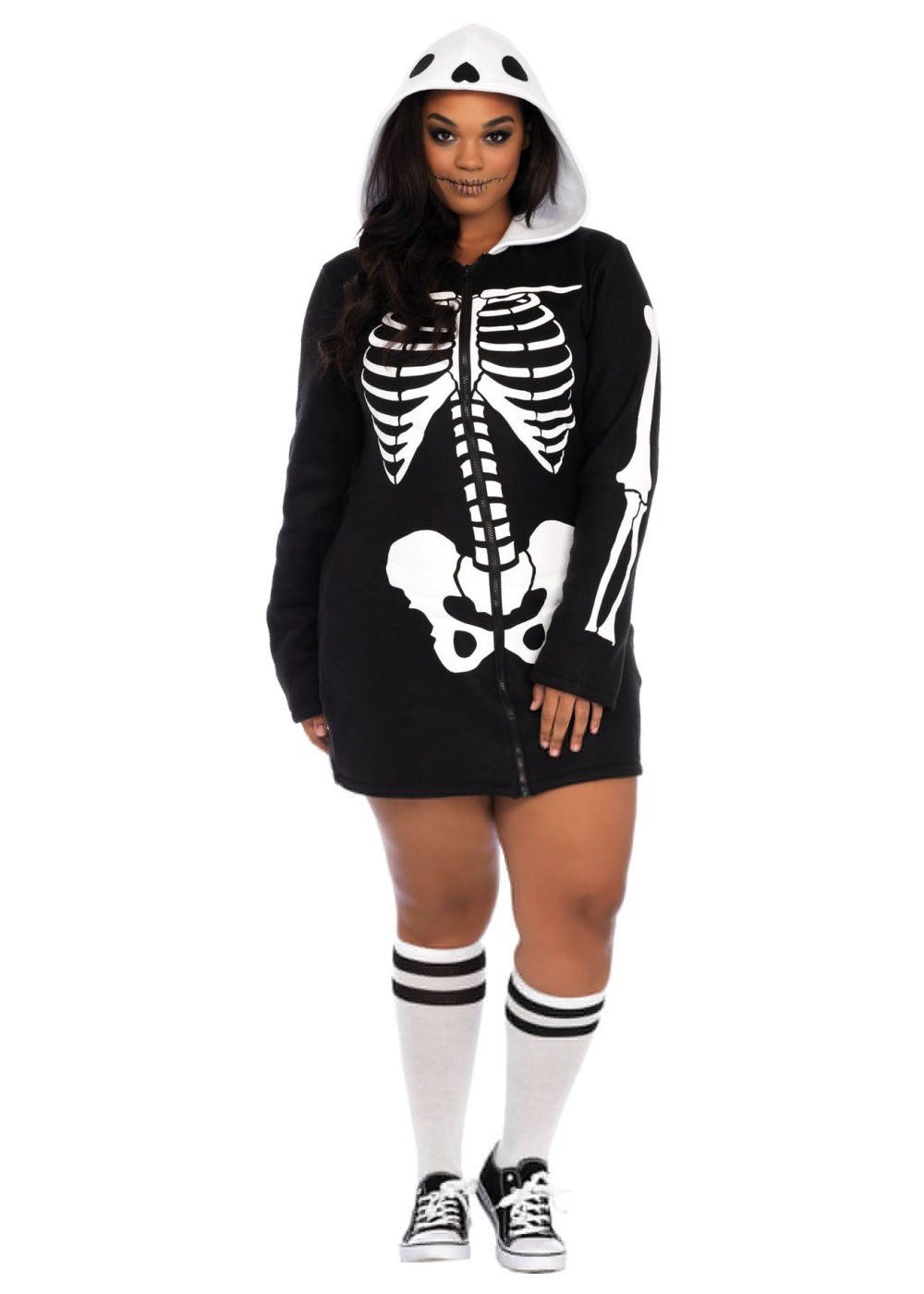 Plus Size Women Skeleton Hoodie Dress Sexy Costumes