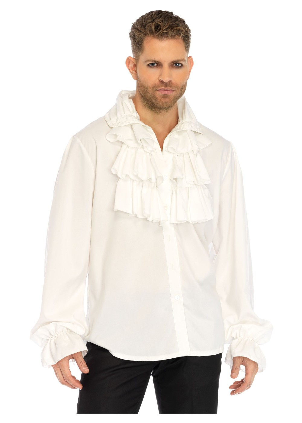 White ruffled men shirt renaissance costumes for Frilly shirts for men
