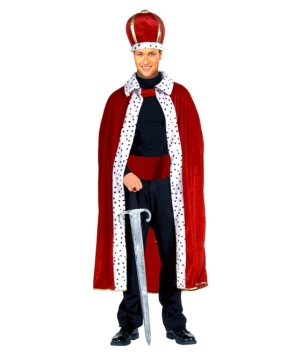 Red King Robe And Crown Set Men Costume