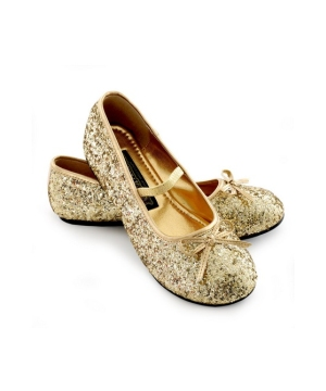 Gold Sparkle Ballerina Flat Girl Shoes