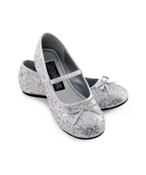 Silver Sparkle Ballerina Kids Flat Shoes