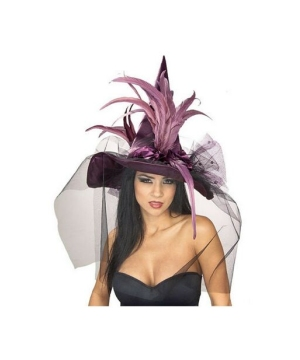 Purple Feather Witch Adult Hat