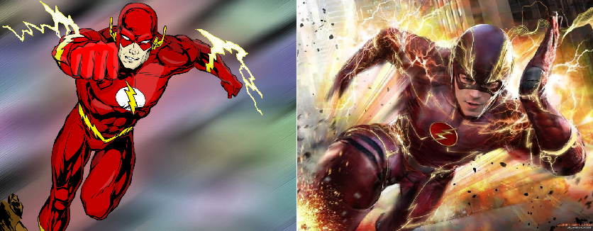 New CW Barry Allen Flash suit compare to comic book costume.
