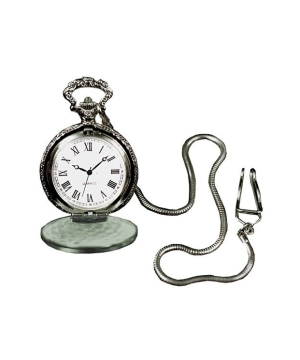 Pocket Watch With Silver Color Chain Costume Jewelry