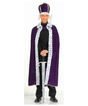 King Robe and Crown Set - Adult Costume - Purple