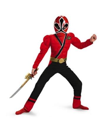 Samurai Red Power Ranger Muscle Kids Costume