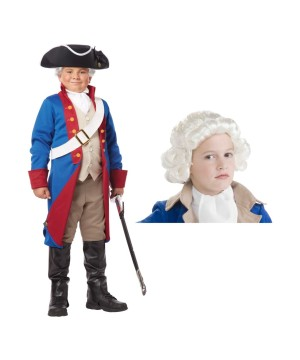 American Patriot and Wig Boys Costume Set