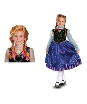 Anna Frozen Costume and Wig Set
