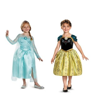 Disney Frozen Elsa and Anna Girl Costumes