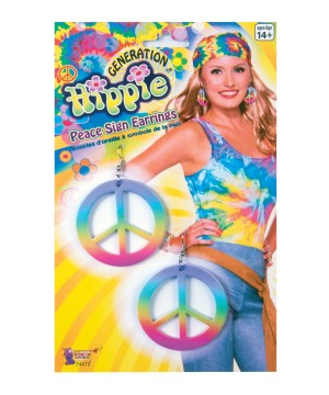 Rainbow Hippie Peace Sign Earrings