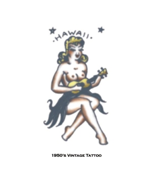 Hawaii Vintage Girl Tattoo Costume Accessory