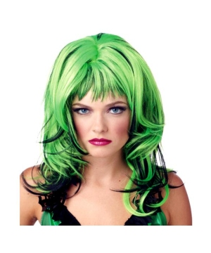 Green Black Hard Rocking Witch Wig