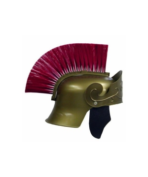 Mens Red Plume Roman Helmet