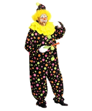 Neon Dotted Clown Adult Costume plus size