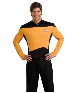 Next Generation Star Trek Gold Shirt - deluxe Adult Costume