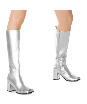 Silver Go Go Boots Adult Shoes