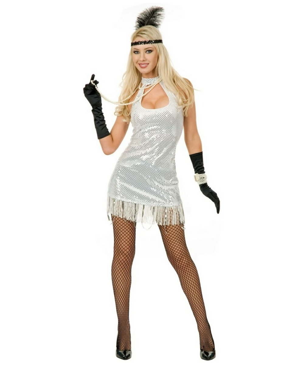 Flapper White Velvet Sequin Dress Plus Size Costume - 1920s Women ...