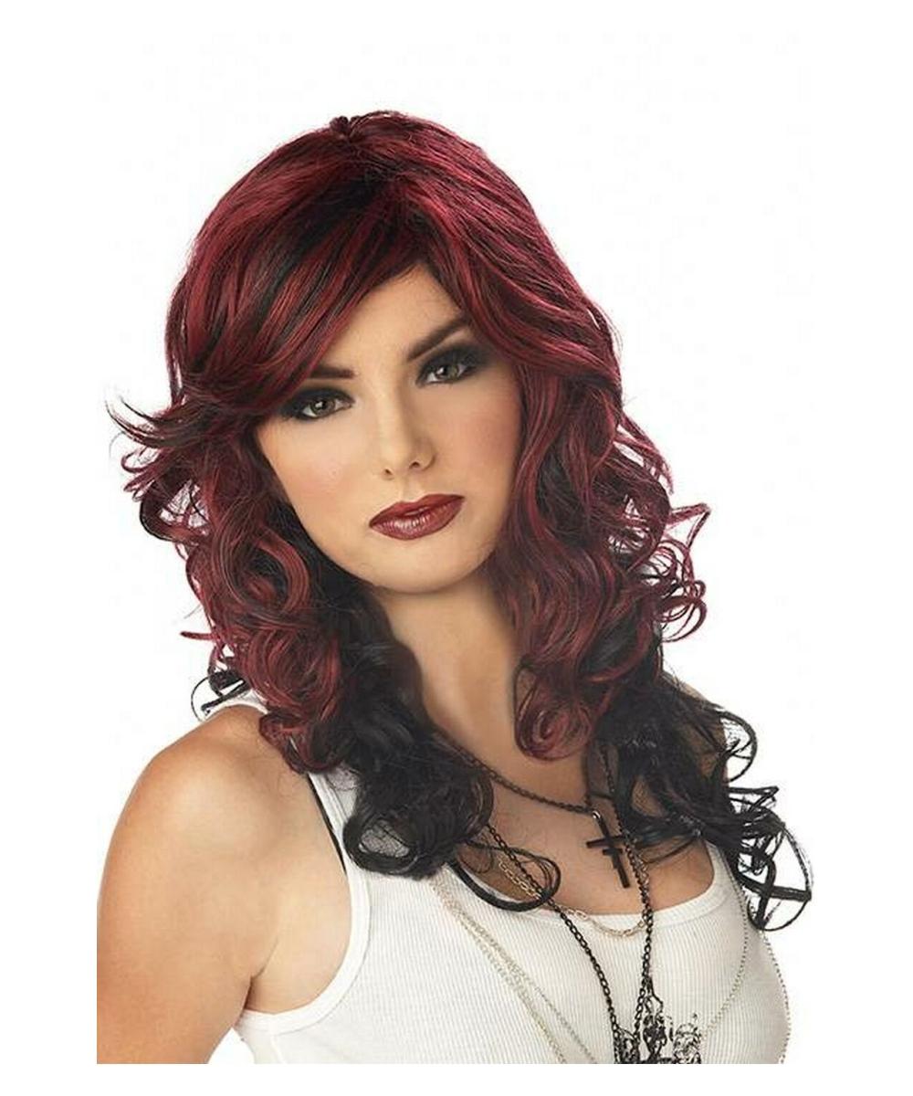 rock vixen wig - pirate adult wig - dark red/black - halloween wig