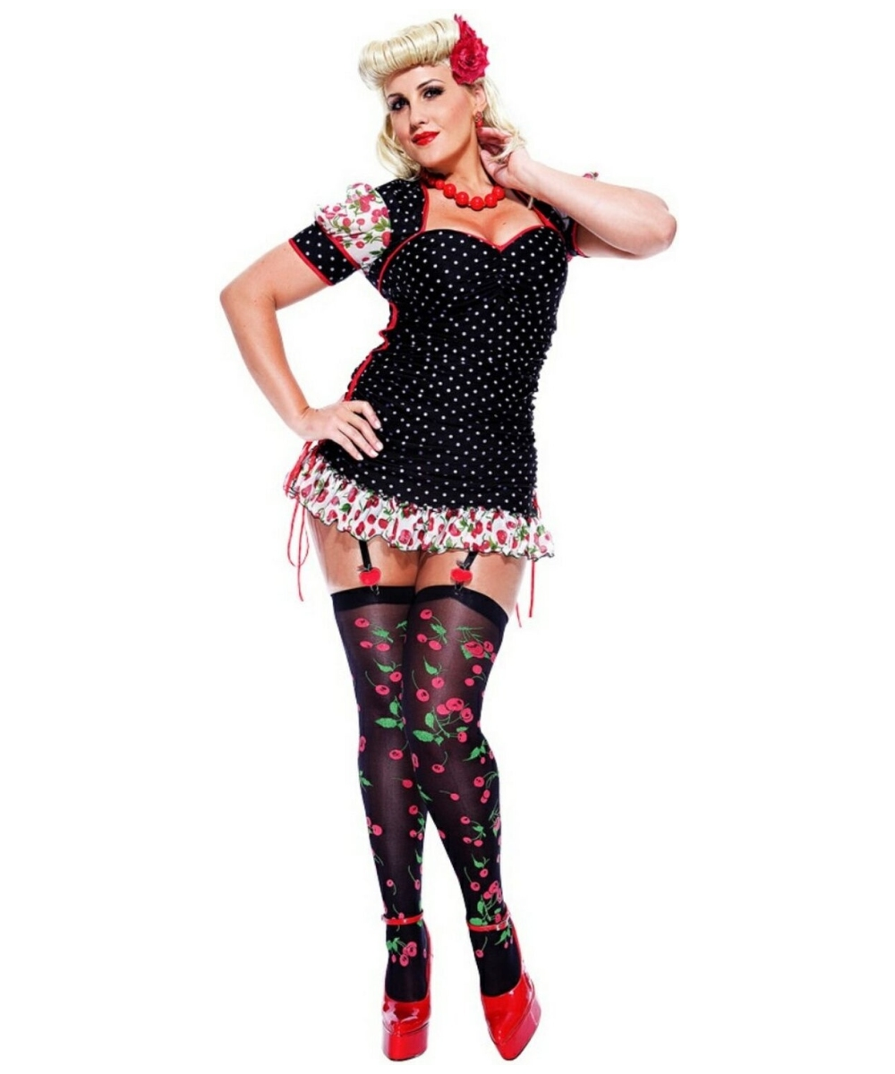 Adult French Kiss Pinup Girl Plus Size French Maid Costume