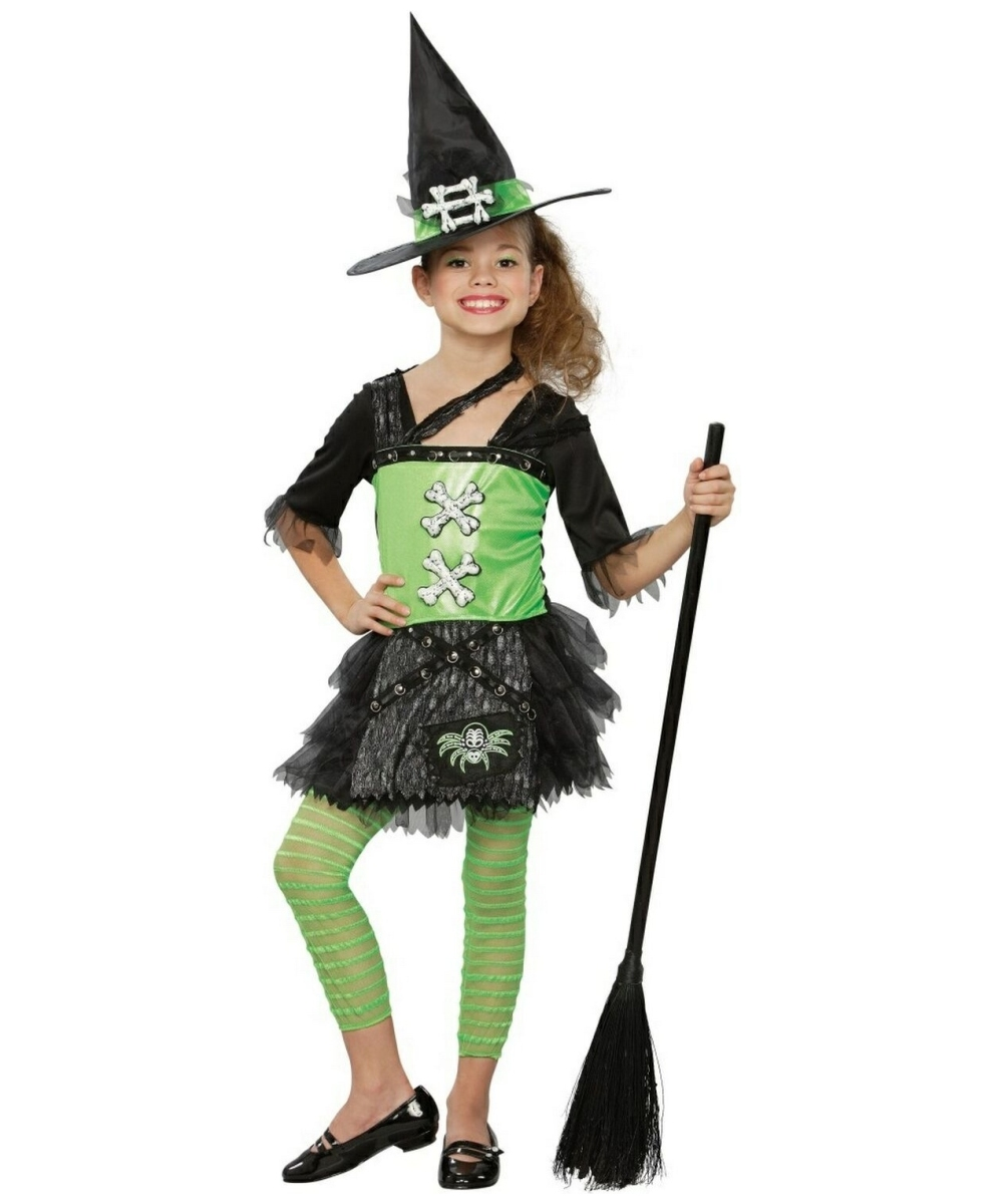 Green Punky Witch Costume - Kids Costume - Witch Halloween Costume ...