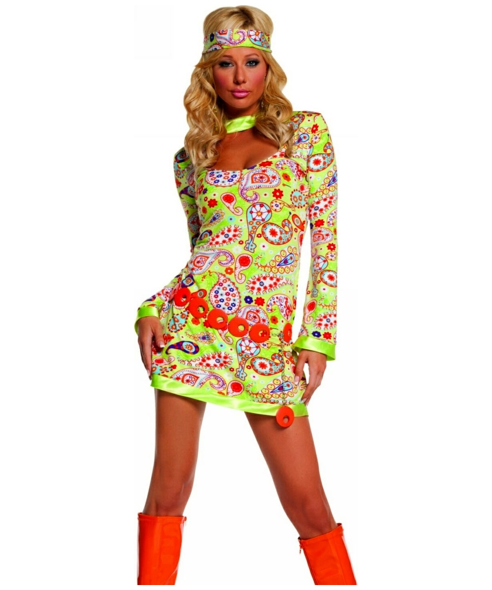 Groovy Chick Costume Adult Costume Hippie Halloween Costume At Wonder Costumes