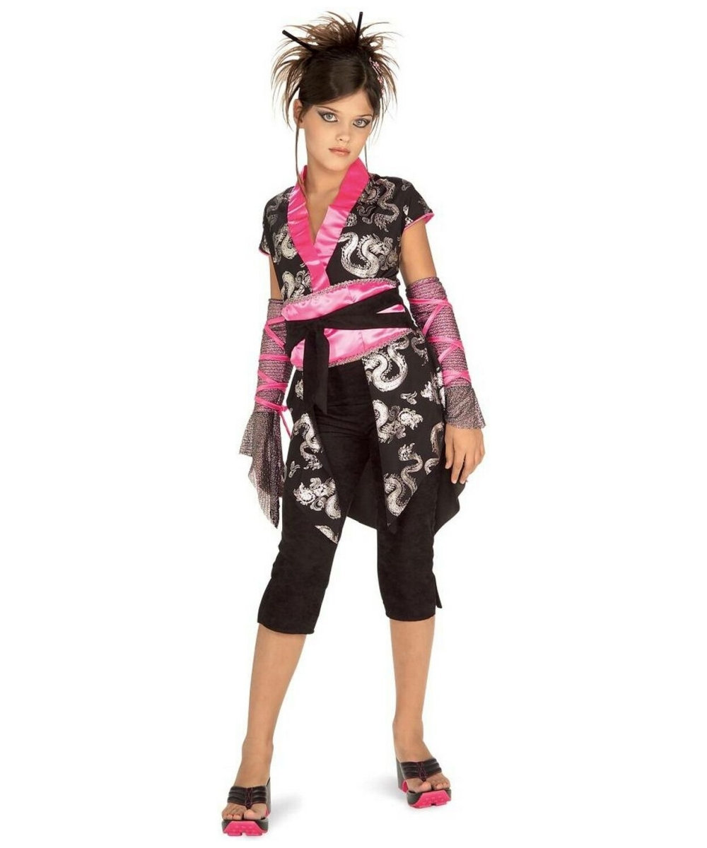 Dragon Ninja Girl Kids Costume Black//Pink Medium