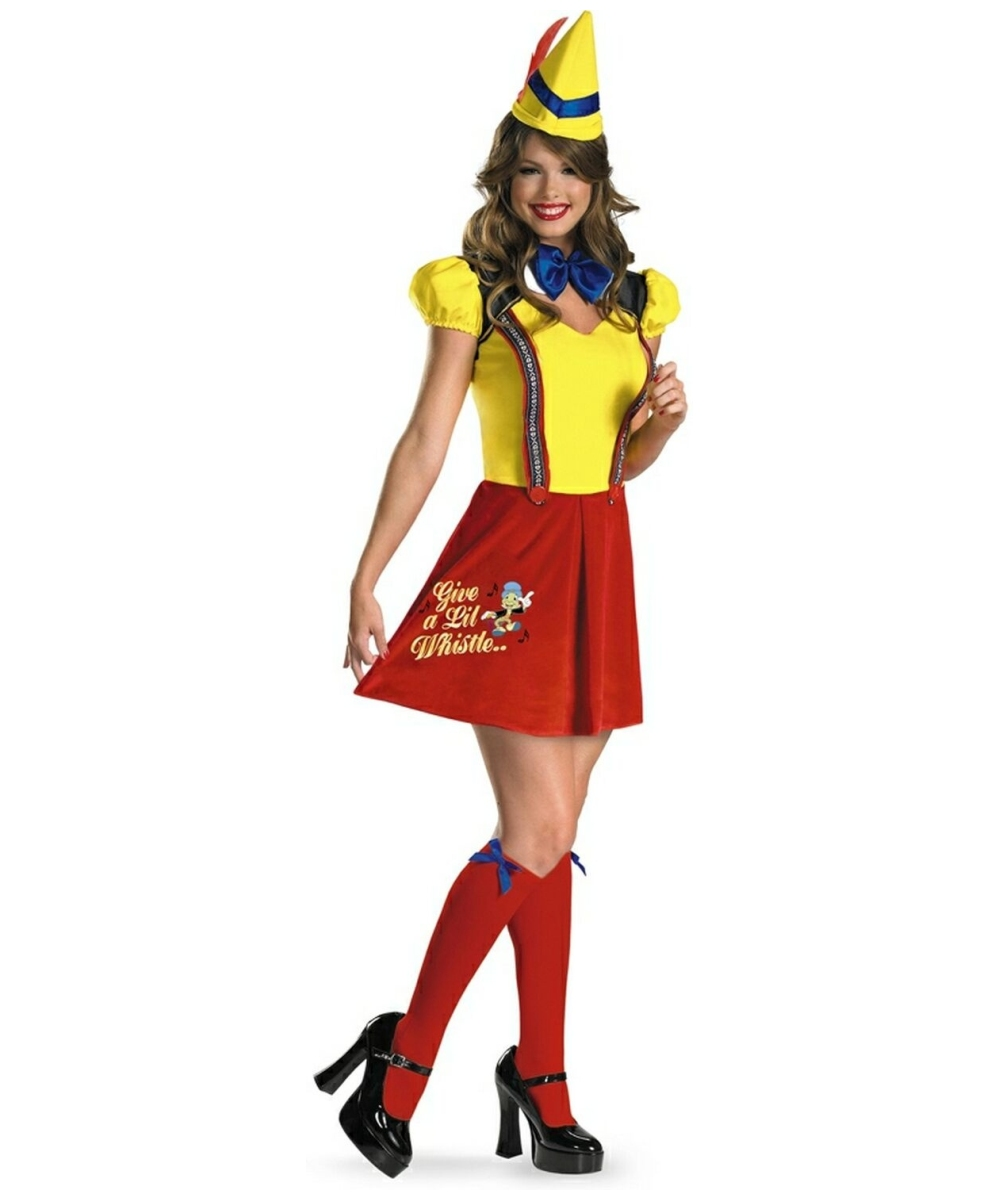 Adult Sassy Pinocchio Disney Costume - Women Costumes Funny Adults Cartoon Image