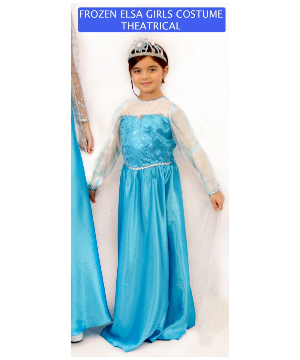 A Frozen Elsa costume fitting of a princess! Disney Elsa dress for girls is inspired by the film, Frozen, and features sheer sleeves and sequins.